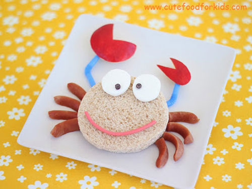 50+ Kids Food Art Lunches - Sandwich Crab