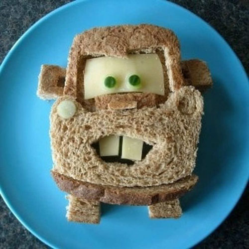 50+ Kids Food Art Lunches - Tow Mater Sandwich