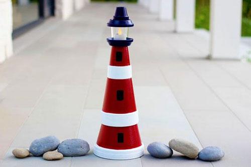 20 Best DIY Garden Crafts - Clay Pot Lighthouse