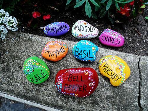 20 Best DIY Garden Crafts - Painted Rock Garden Markers