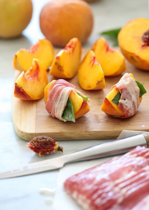 50+ Best Peach Recipes - Bacon Wrapped Grilled Peaches with Balsamic Glaze