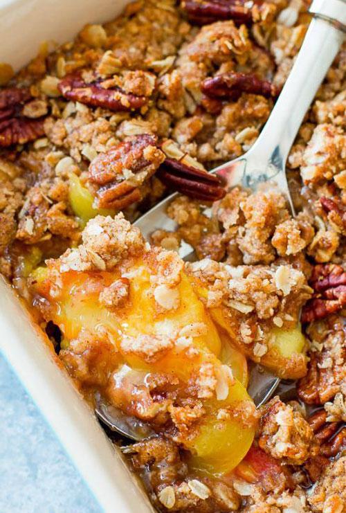 50+ Best Peach Recipes - Peach Pecan Crisp