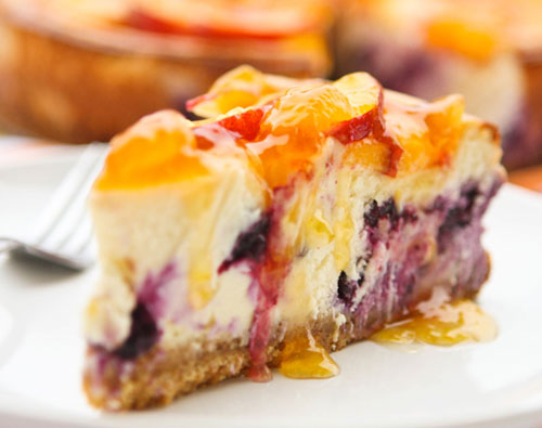 50+ Best Peach Recipes - Peach-Topped Blueberry Cheesecake