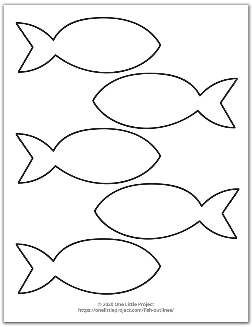 Free Printable Fish Outline Pages Fish Templates One Little Project