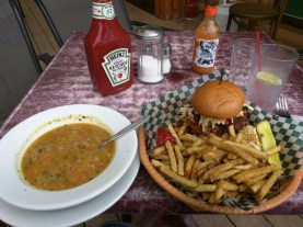 Yellow split pea soup was quite good. But as you can see that and the burger ended up being a lot of food.