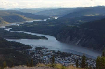 View from Midnight Dome, looking south along the Yukon. That's upstream to Whitehorse (444 miles). Dawson city in the foreground.