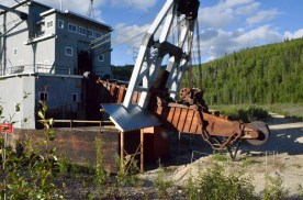 The scooping end of the dredge.