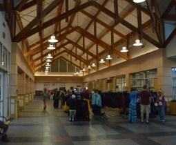 Main Lobby of the Fairbanks depot. Enter from the parking lot on the left, exit to the trains on the right. Ticket counters along the right wall. Model railroad display behind me.