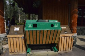 Bear proof garbage and recycling.
