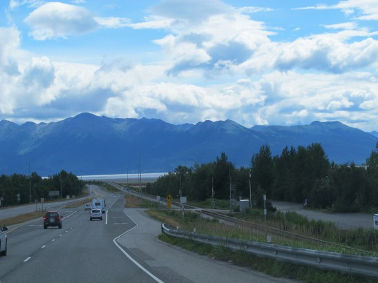 At the edge of Anchorage, the road heads along Turnagain arm. To the left here is Potter Marsh.