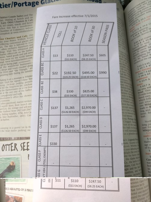 Tunnel fare schedule was recently updated and so provided on this half sheet.