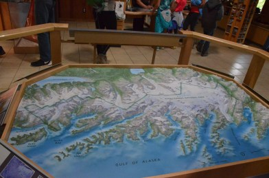 Inside the small visitor's center/ranger station is a relief map of the Kenai Fjords National Park.