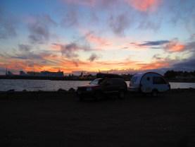 Sun sets behind the docks.