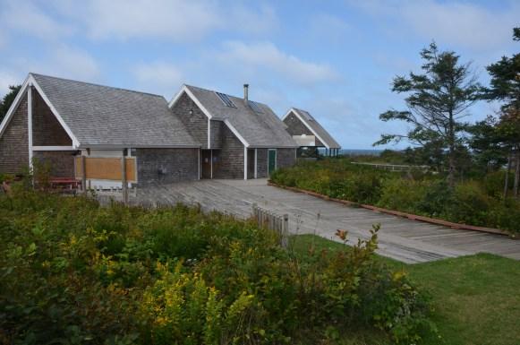 The beach facilities, closed for the season.