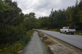 Much of the park road follows the shoreline, and here there is a nice pedestrian path established between the road and the water.