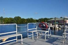 Leaving the dock on our pontoon boat