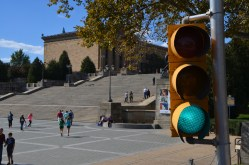 "The ""rocky steps"" - Our bus got stopped here through several iterations of this stoplight, so I incorporated it into the pic."