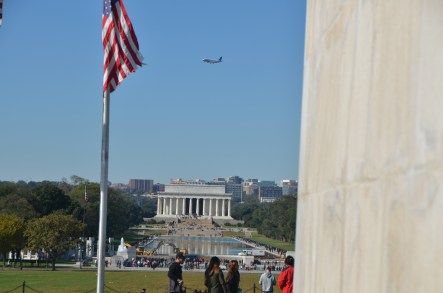 Looking down the reflecting pond to the Lincoln Memorial.