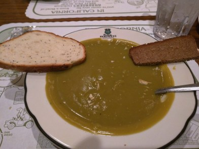 Pea soup with assorted bread.