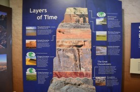 """In case you'd like to decode the photos. Note the """"Great unconformity"""" this is a point in history when the layers that had been built up were washed away. Guess that happens when the land keeps tipping this way and that."""
