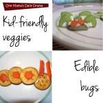 Edible bugs made with veggies