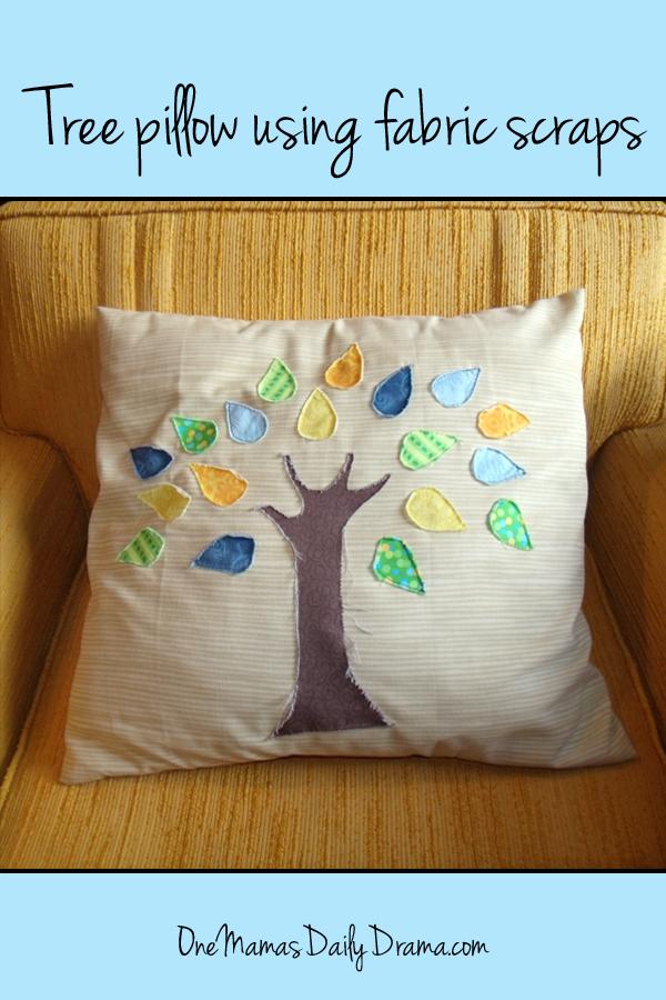 Make a pretty tree pillow using fabric scraps or fat quarters   One Mama's Daily Drama