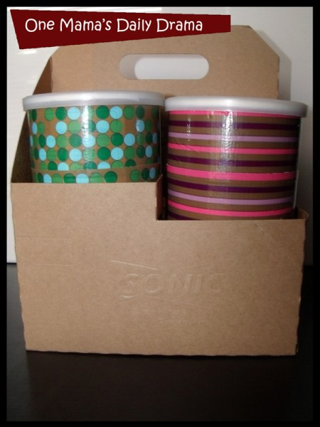 organizing idea: duct tape oatmeal containers