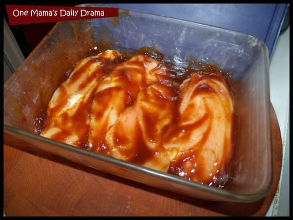 spicy barbecue chicken sandwich marinating