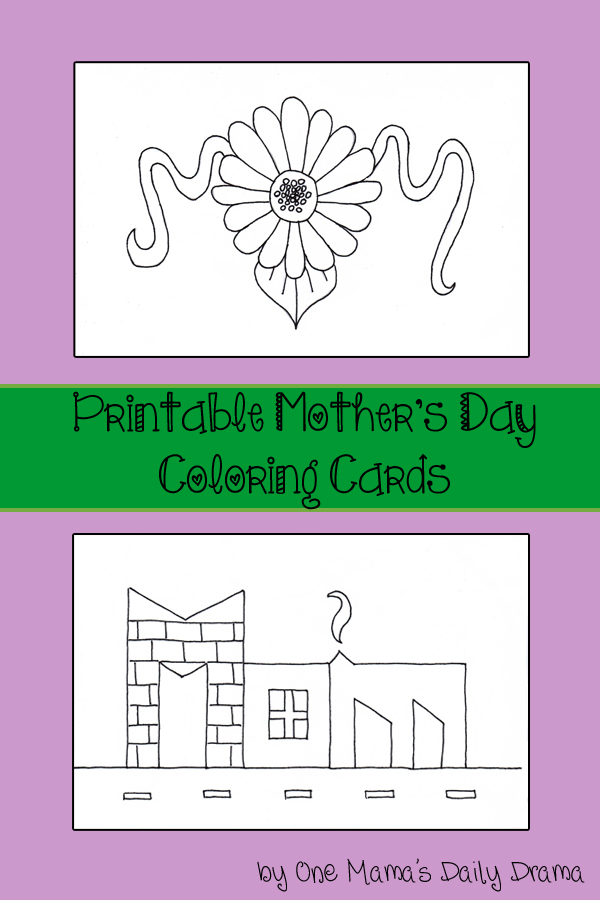 Printable Mother's Day coloring cards kids activity by One Mama's Daily Drama