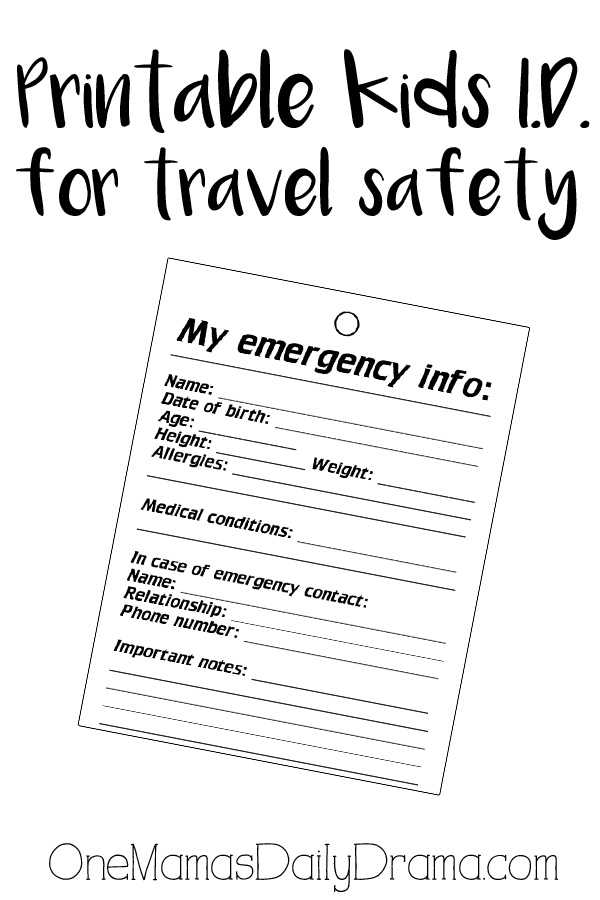 Printable kids identity badge for travel safety | OneMamasDailyDrama.com