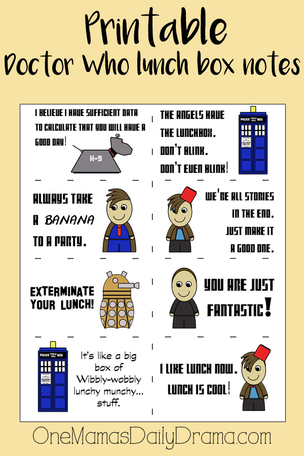 Printable Doctor Who lunch box notes