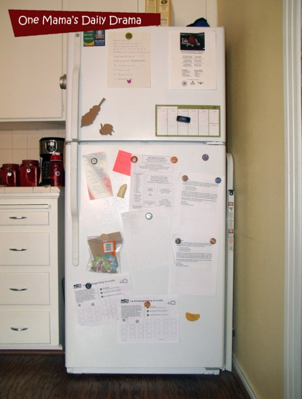 Get your messy refrigerator door in order! Organize the refrigerator door with kids' name label magnets. | One Mama's Daily Drama