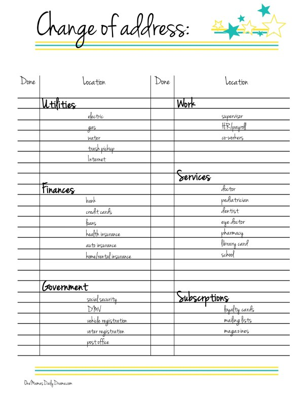 Free printable change of address checklist | One Mama's Daily Drama --- This is a handy list of all the places you need to remember to change your address when you move.