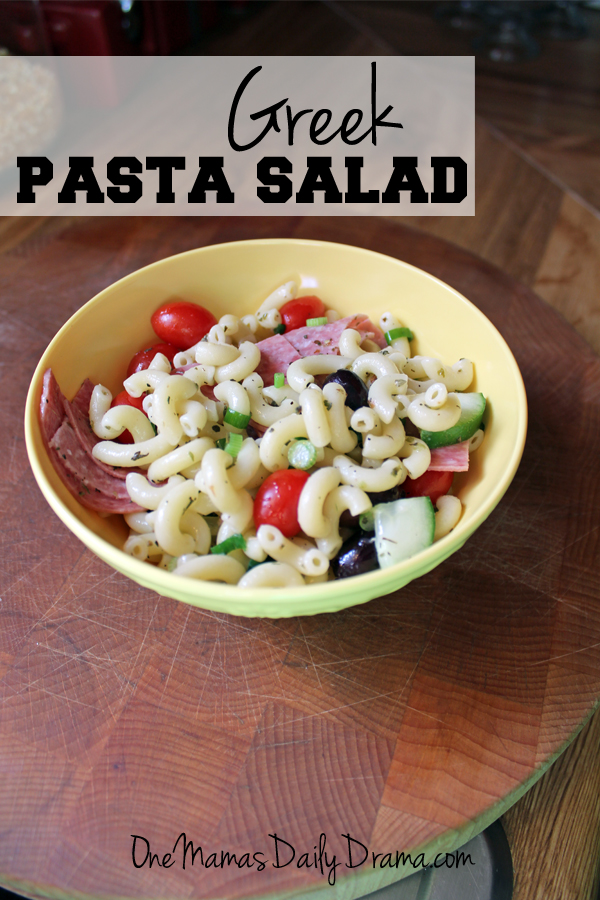 Greek pasta salad | from One Mama's Daily Drama --- Cold pasta recipe with Greek flavors