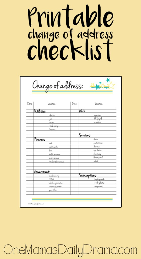 Printable change of address checklist – Free Change of Address
