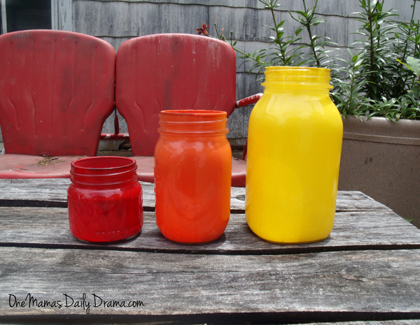 Rainbow mason jar candle holders | One Mama's Daily Drama --- Dress up your patio or dining table with these easy DiY painted candle holders.