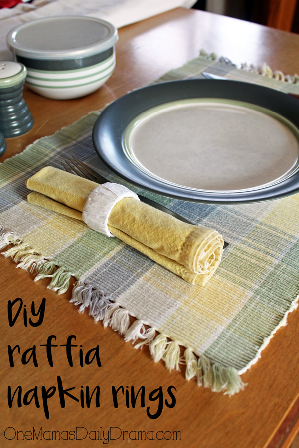 DiY Raffia napkin rings | One Mama's Daily Drama --- You won't believe the craft supply she used to make this!