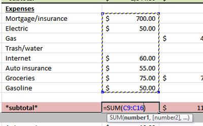 How to total columns or rows in an Excel spreadsheet