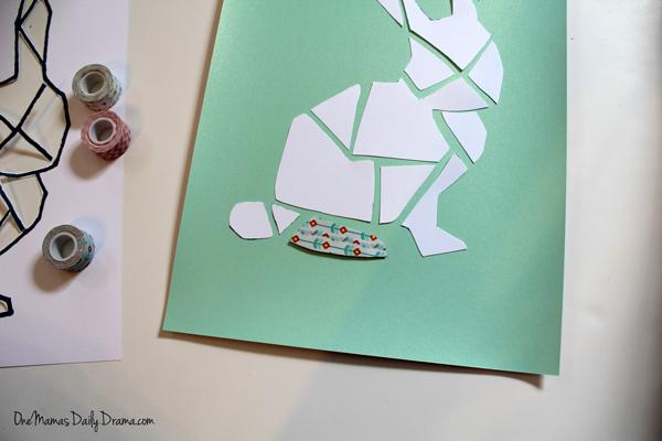 DiY washi tape bunny art   One Mama's Daily Drama