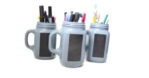 DiY painted jam jar pencil holder