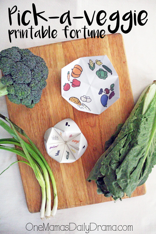 Pick-a-veggie printable fortune game