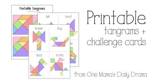 Printable tangrams + challenge cards make a fun kids activity or DiY gift idea.
