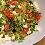 Pepperoni pizza pasta salad with balsamic vinaigrette