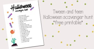 Tween and teen Halloween scavenger hunt printable