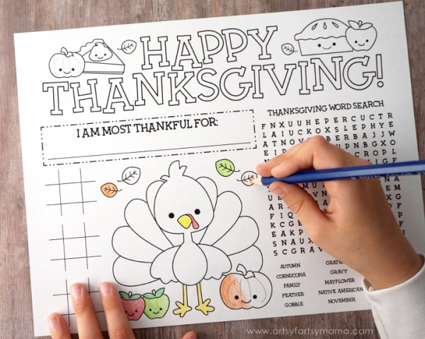 Thanksgiving kids activities | printable page from Artsy Fartsy Mama