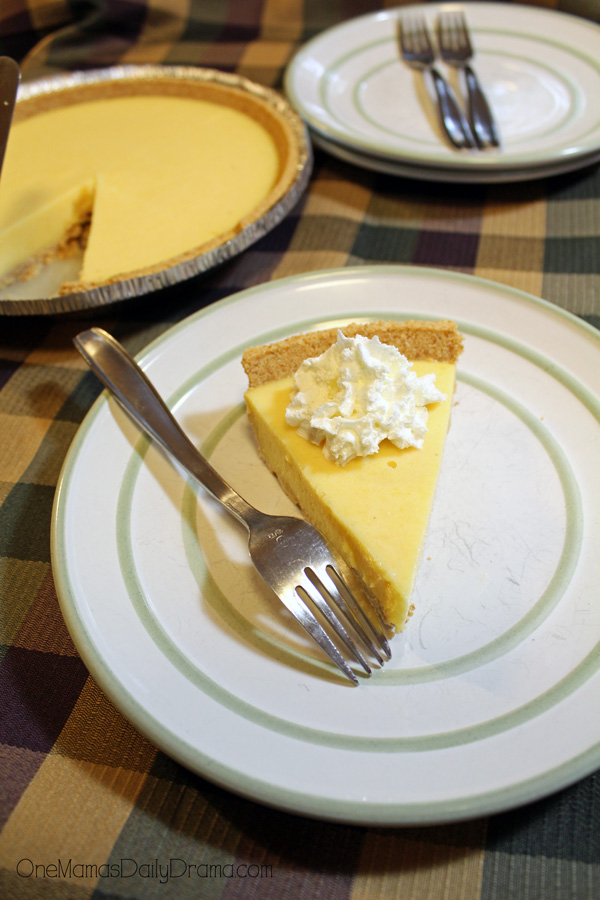 Eggnog pie is delicious topped with whipped cream.