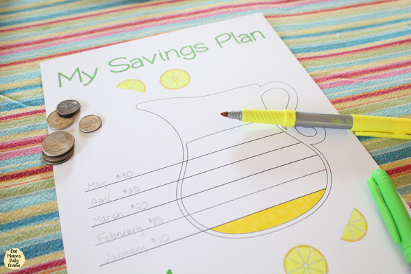 Lemonade pitcher coloring savings tracker