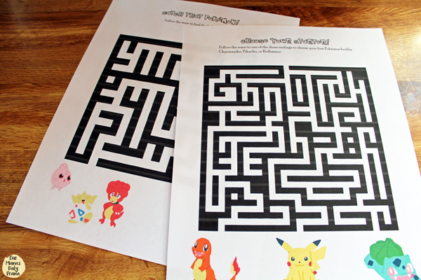 Pokemon maze printable