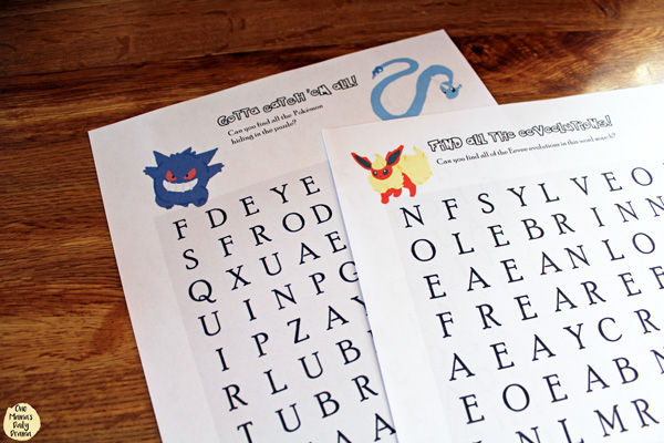 Pokemon word search printable