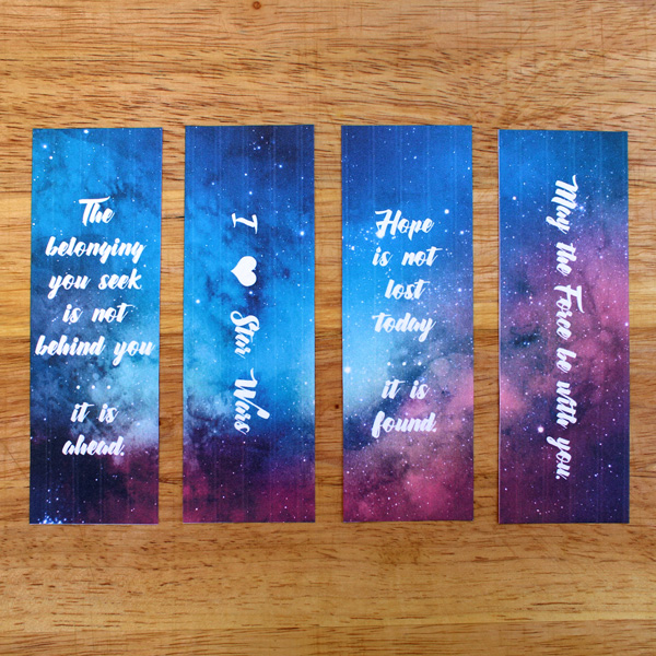 "Printable Star Wars bookmarks with quotes from ""The Force Awakens"""